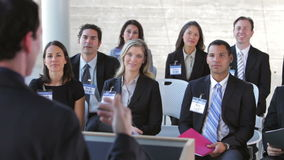 Businesspeople Listening To Speaker At Conference stock footage