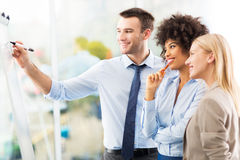 Businesspeople looking at flipchart in office Royalty Free Stock Photography