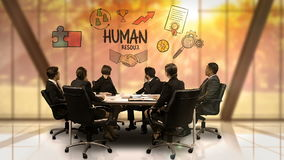 Businesspeople looking at futuristic screen showing human resources symbol