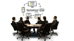 Businesspeople looking at futuristic screen showing responsive symbol