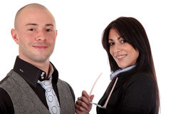 Businesspeople man woman. Young businesspeople, man and woman. studio shot.white background stock photography