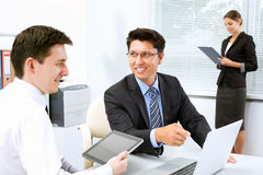 Businesspeople in a meeting at office Stock Photos