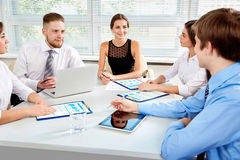 Businesspeople in a meeting at office royalty free stock image
