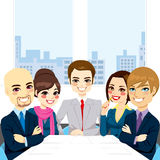 Businesspeople Office Meeting. Five businesspeople at office smiling together happy sitting around meeting table vector illustration