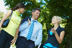 Businesspeople in park Royalty Free Stock Photo