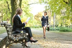 Businesspeople in park Royalty Free Stock Images