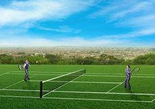 Businesspeople playing tennis Royalty Free Stock Photos