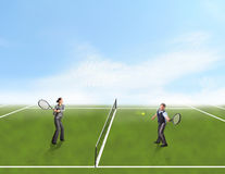 Businesspeople playing tennis Stock Images