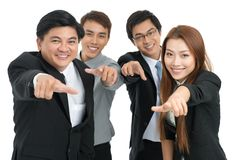 You the next!. Businesspeople pointing at you isolated against a white background Stock Images