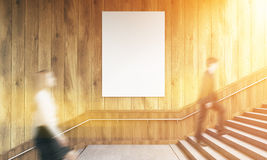 Businesspeople and poster toning. Side view of blank poster on wooden wall and businesspeople climbing stairs. Toned image. Mock up, 3D Rendering Royalty Free Stock Image