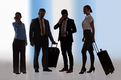 Businesspeople Ready For Journey. Group Of Businesspeople Ready For Business Travel With Luggage royalty free stock image