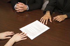 Businesspeople with resume Stock Photos