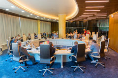 Businesspeople at the round table during Amber Forum Stock Image