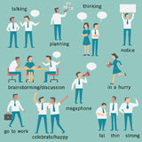 Businesspeople. Set of businesspeople or office workers, man and woman, various characters and activities, in business concept set 2 stock illustration