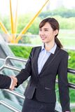 Businesspeople shake hand. With confident smile after a meeting royalty free stock photo
