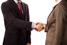 Businesspeople shaking hands,. Deal approved (isolated on white stock photography