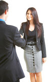 Businesspeople Shaking Hands. Beautiful businesswoman shaking hands with other executive over white background royalty free stock image