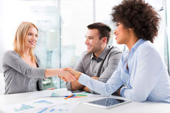 Businesspeople shaking hands. Business people in conference room stock photography