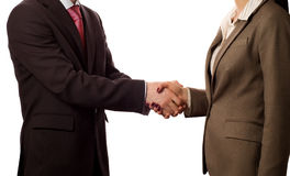 Businesspeople shaking hands, deal approved. (isolated on white stock photos
