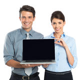 Businesspeople Showing Laptop Stock Photography