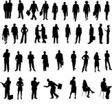 Businesspeople silhouettes. Large set of businesspeople silhouettes, isolated on white background vector illustration