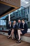 Businesspeople sitting with laptop in office premises. Portrait of businesspeople sitting with laptop in office premises Royalty Free Stock Image