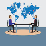 Businesspeople sitting at the table. Negotiations, discussion. Illustration, elements for design Stock Photography