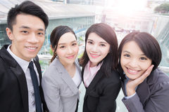 Businesspeople smile happily in hongkong Stock Photo