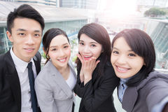 Businesspeople smile happily in hongkong Royalty Free Stock Photo