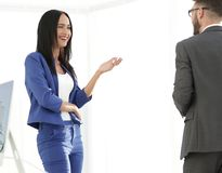 A couple of business partners working together in office Stock Images