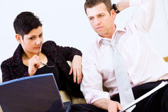 Businesspeople solving problem Royalty Free Stock Photos