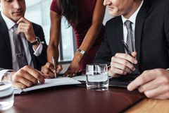 Businesspeople som har ett möte i regeringsställning Royaltyfria Bilder