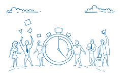 Businesspeople standing alarm clock time management deadline concept teamwork punctuality successful strategy sketch Stock Illustration