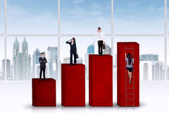 Businesspeople standing on financial chart Royalty Free Stock Photography