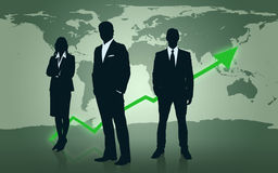 Businesspeople standing in front of world map. Illustrated businesspeople standing in front of world map and green arrow royalty free illustration