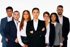 Businesspeople standing over white background Stock Photos