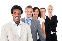 Businesspeople standing over white background. Portrait of confident multiethnic businesspeople standing over white background royalty free stock photos