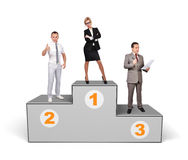 Businesspeople standing on podium Stock Photos