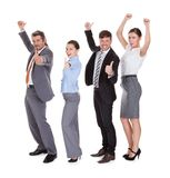 Businesspeople standing in a row. Group Of Businesspeople Standing In A Row Over White Background stock photography