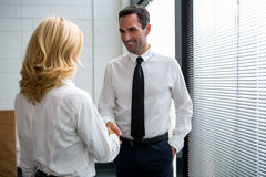 Businesspeople standing up and shaking hands Royalty Free Stock Images