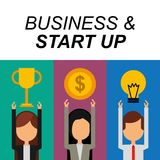 Businesspeople success trophy money bulb idea business and start up. Vector illustration Stock Image