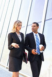 Businesspeople With Takeaway Coffee Outside Office Royalty Free Stock Photos