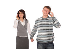 Businesspeople talk cell phone Royalty Free Stock Image