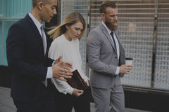 Businesspeople Talk Men Women Notebook Concept Stock Images