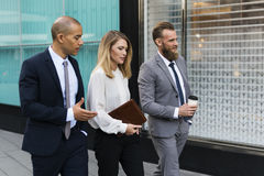 Businesspeople Talk Men Women Notebook Royalty Free Stock Photos