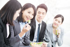 Businesspeople talk in office. In hongkong stock photos