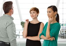 Businesspeople talking in business hall Royalty Free Stock Photos