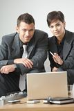 Businesspeople talking at office Stock Photo