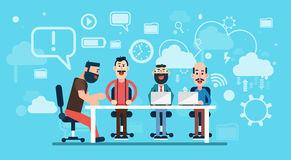 Businesspeople Team Working Abstract Business Technology Background Workplace. Flat Vector Illustration Royalty Free Stock Photo
