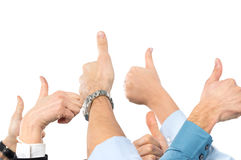 Businesspeople With Thumb Up. Close Up Of Businesspeople's Hand Gesturing Thumb Up Sign Royalty Free Stock Image